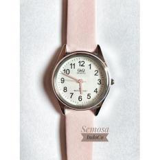Q&Q Jam Tangan Wanita Leather Strap Original!! Water Resist - Soft Pink Valentine series (free Anting pompom)