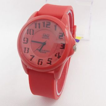 Review Q&Q Watch - QQ018 - Jam Tangan Sport Wanita - Rubber Strap - Red