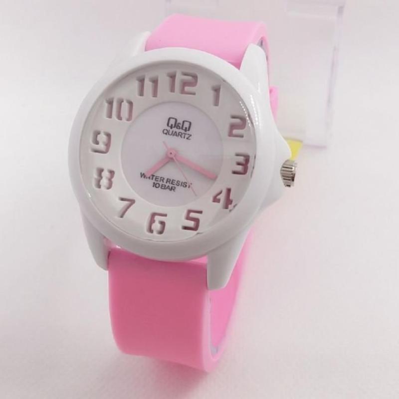 Q Q Watch Qq018 Jam Tangan Sport Wanita Rubber Strap White Pink Indonesia