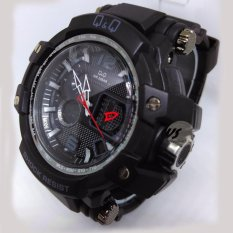 Model Q Q 1587 Rubber Strap Dual Time Movement Black Terbaru
