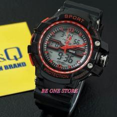 Q&Q Dual Time - Jam Tangan Sport Pria - Rubber Strap - Q&Q0010