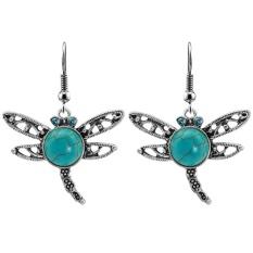Qimiao Dragonfly Wanita Perhiasan Set Alami Stone Liontin Kalung Anting-Anting Antik Perak Berlapis Paduan Rantai Hadiah Warna: ERH-L22 Anting-Anting-Internasional