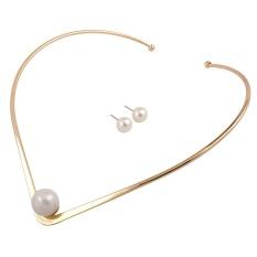 Qimiao Modis Perhiasan Set untuk Wanita Paduan Kalung Kerah Imitasi Mutiara Kalung Anting-Anting Set Perhiasan Pernyataan Hadiah N4294 Gold Warna: gold-Internasional