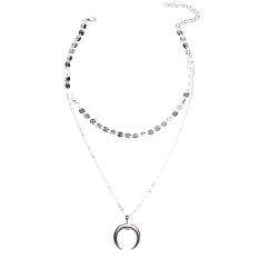 Qimiao Vintage Bulan Sabit Kalung Ganteng Ganda Lapisan Pesona Kalung Wanita Perhiasan Warna: Perak-
