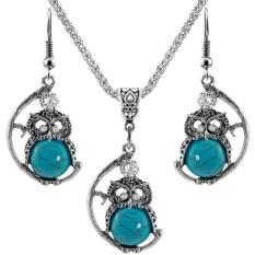 Qimiao Wanita Burung Hantu Perhiasan Set Alami Stone Liontin Kalung Anting-Anting Antik Perak Berlapis Paduan Rantai Hadiah Warna: NTZ-L21 Jas-Internasional