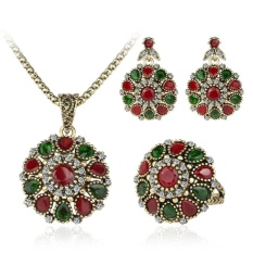 Qimiao Wanita Retro Perhiasan Elegan Kristal Liontin Kalung + Berlian Buatan Menyilaukan Subang + Cincin Bunga Model: lingkaran 10 #-Internasional