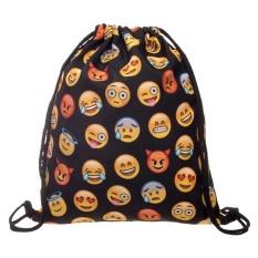 "(QIMIAO) Emoji Cetak Sackpack Gym Bahu Drawstring Backpack String Bag Bandung Photo: ""Dewasa"