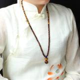 Spesifikasi Qinbaoshuijing Alami Kuning Tiger Eye Manik Manik Rantai Sweater Terbaru