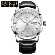 Qoovan 24 Pria Watch Genuine Treasure Shuttle Bor Impor Mesin Automatic Mechanical Watch Tahan Air Pria's Luminous Strip (1 X Men Watch) (SilverSilver)