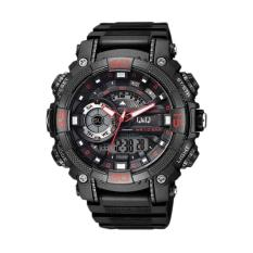 QQ Q 001 DB Chrono Alarm Jam Tangan Pria  Black Red