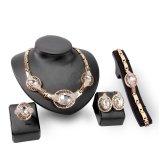 Jual Ratu Berlian Perhiasan 5 Buah Set Kalung Cincin Anting Pesta Makan Rantai Gelang Paduan Desain Merek Perhiasan Untuk Wanita China Berlapis Emas Kristal Bridal Platinum Berlian Imitasi Putih Oem