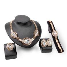 Spesifikasi Ratu Berlian Perhiasan 5 Buah Set Kalung Cincin Anting Pesta Makan Rantai Gelang Paduan Desain Merek Perhiasan Untuk Wanita China Berlapis Emas Kristal Bridal Platinum Berlian Imitasi Putih Oem
