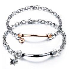 Dapatkan Segera Queen Pasangan Sederhana Berbentuk Hati Bintang Baja Titanium Gelang Perhiasan Grosir Mawar Emas Perak