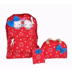 Quincybaby Ransel Tas Anak 3 in 1 Kanvas Tas Sekolah Berlibur Bahu Bag Red - S315