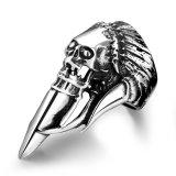 R174 Unique Star Celebrity Men Styles Skull Ring Grey Terbaru