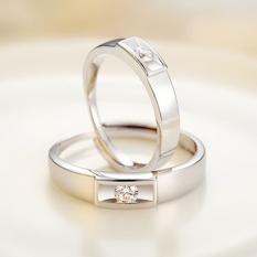 R999 Sterling Silver Berlian Emas Putih Bisa Digerakkan Cincin Couple Cincin Pasangan