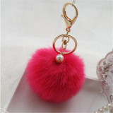 Review Rabbit Fur Key Ring Cell Phone Ball Pompom Handbag Pendant Charm Car Keychain