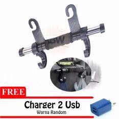 Rainbow Hanger Jok Mobil Besi Panjang + FREE Kepala Charger 2 USB  / Universal Vehicle Hanger / Gantungan Tas Jok belakang Mobil / Aksesoris Gantungan Kursi Jok  Mobil - Hitam
