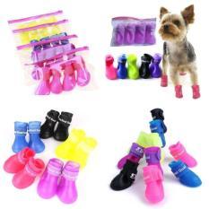 Pelangi Situs 7 Warna Terbaru Anjing Peliharaan Anti-Air Booties Karet Sepatu Hujan Bot Sepatu Permen Warna-Ungu-Int: s-Internasional