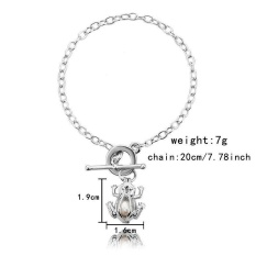 Rainbow Site Brand New Romantic Love Women Fashion Jewelry Oyster Drop Bracelet Gifts Pearls Pendant Bangle Bracelet (Pearl color random)-As the picture Flower - intl