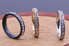 Pelangi Situs Zirkon Putih Perak Kristal Cincin Kawin Pengantin Perhiasan (Ukuran/Gaya: #6, warna: Hitam)-Internasional