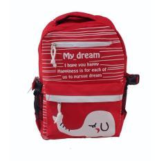 Quincybaby Ransel Tas Anak Kanvas Tas Sekolah Berlibur Bahu Bag Red - S318