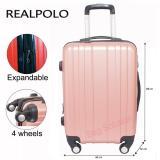 Promo Real Polo Tas Koper Hardcase Fiber Abs 4 Roda Putar 7716 Size 28 Inch Rose Gold