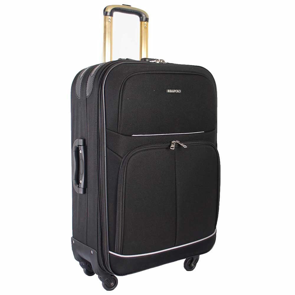 Garansi seller 1 bulan Real Polo Tas Koper Softcase Expandable 4 Roda 581- 20 Inchi - Hitam - Gratis