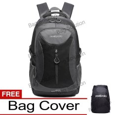 Real Polo Tas Ransel Kasual Jumbo FCCB Backpack XL Bonus Bag Cover - Hitam GJK
