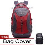 Real Polo Tas Ransel Kasual Jumbo 6332 Backpack Xl Bonus Bag Cover Merah Original