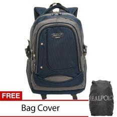 Real Polo Tas Ransel Kasual - Tas Pria Tas Wanita 6308 - Bonus Bag Cover - Biru Tua