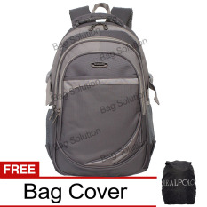Real Polo Tas Ransel Laptop Kasual 6363 Backpack Up To 15 Inch Bonus Bag Cover Abu Real Polo Diskon 30