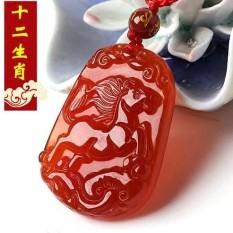 Merah Agate 1212 Cina Zodiak Tanda Tikus Sapi Kelinci Domba Monyet Ayam Anjing Babi Giok dari Lama Dia Mas Berkabung jatuh Ke Kalung Pria dan Wanita Giok Dipakai untuk Belong untuk Saling-Internasional