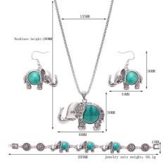 Redcolourful Eropa dan Amerika Logam Trendi Gajah Pirus/Ruby Tiga Potong Kalung Anting-Anting Gelang Perhiasan Set Spesifikasi: 61163157-Internasional