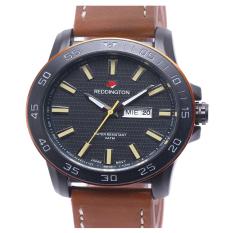 Reddington daydate  - Jam tangan pria - Hitam coklat  - strap kulit - RD332hc