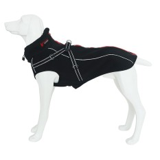 Reflective Outdoors Adjustable Dogs Winter Jackets Coats Raincoat Clothes Pet Clothing with Neckline Harness for Medium Large Pets Size L Black - intl