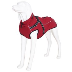 Reflective Outdoors Adjustable Dogs Winter Jackets Coats Raincoat Clothes Pet Clothing with Neckline Harness for Medium Large Pets Size S Red - intl