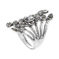 Retro Paduan Buku Cincin dengan Berlian (Perak)-10-Internasional