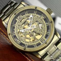 Retro Perunggu Antik Hollow Automatic Mechanical Men's Steel Strap Watch (Perunggu)-Intl
