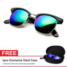 Review Retro Club Master Sunglasses Lq 9912 L Green Mercury Free Exclusive Hard Case Kacamata Wanita
