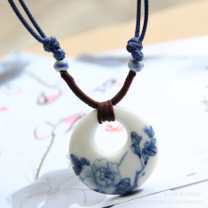Elegan Retro porselen biru putih MIMZF netral ornamen keramik buatan tangan Model panjang Kalung Asesoris Gantung Retro Kalung Berantai perempuan