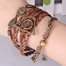 Jual Beli Online Retro Multi Layer Deathly Hallows Wing And Owl Bracelet For Unsex Brown