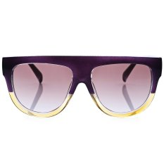 Retro Rivet Shades Oversize Wanita Kitten Sunglasses Ungu Original