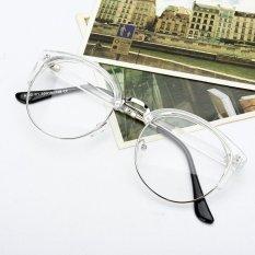 Gaya Retro Wanita Pria Nerd Kacamata Bening Lensa Kacamata Bingkai Logam Bulat Kacamata
