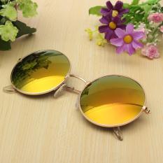 Harga Retro Vintage Pria Wanita Big Round Metal Frame Sunglasses Kacamata Eyewear Fashion
