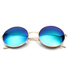 Harga Retro Vintage Pria Wanita Kacamata Hitam Bingkai Logam Bundar Besar Kacamata Fashion Kacamata Fullset Murah