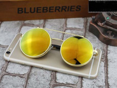 Toko Retro Vintage Round Flip Up Sunglasses Circle Clip On Sunglasses Metal Sun Glasses Golden Murah Di Tiongkok
