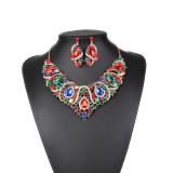 Spesifikasi Rhinestone Crystal Kostum Anting Dan Kalung Pernikahan Bridal Perhiasan Set Multi Warna Intl Merk Magideal