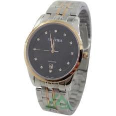 ... Rhythm Sapphire D45H405RH1301MCMBPH Date Jam Tangan Pria Stainless Steel Chain Combinasi