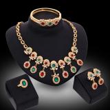 Diskon Panjang Kristal Mewah Berlapis Emas Berlian Imitasi Kalung And Anting Anting Gelang Cincin Set Perhiasan